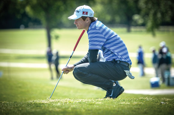 ON THE GREEN - Drew Jones contemplates a putt on hole 18 Friday at Jimmy Clay Golf Course in Austin. Jones finished the state tournament tied for ninth in the state. Messenger photo by Joe Duty