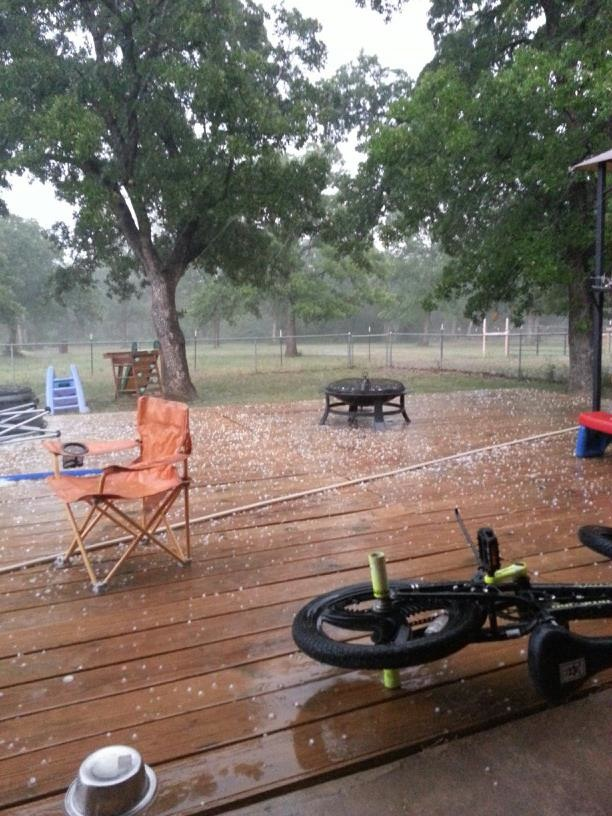 Pea sized hail was reported in Paradise. Other areas of the county reported hail the size of golf balls. Photo submitted through Facebook by Ashley Waylon Wiley.