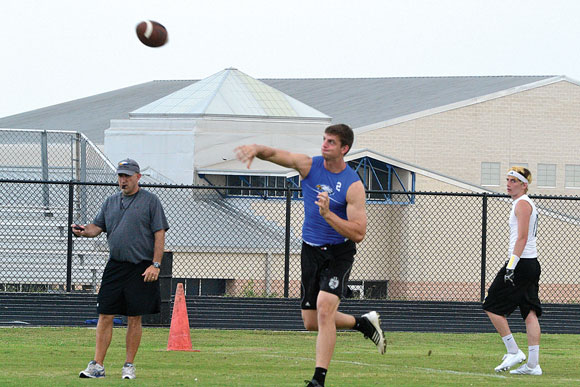 READY TO GO - Decatur's Grayson Muehlstein winds up to throw the ball during the Eagles 7-on-7 game Thursday in Decatur. Messenger photo by Kelly Guess
