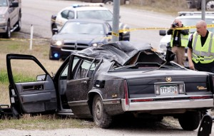 RESTING PLACE - Evan Ebel's interstate murder and shooting spree ended in Decatur on March 21 when he crashed into a rock hauler and exchanged gunfire with sheriff's deputies. Investigators still don't know what he intended to do with the explosives in the trunk of his car. Messenger photo by Jimmy Alford
