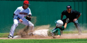 SAFE! - Austin Hogan slides in safely during the Panthers' playoff against Maypearl Saturday. Messenger photo by Joe Duty
