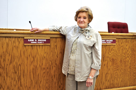 TEN-YEAR TENURE- After almost a decade of service, Bridgeport native Ilene Enochs did not seek re-election to the city council this year. She was appointed to the council in November 2003 and elected the following May. Messenger photo by Joe Duty