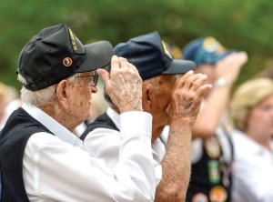 WE SALUTE YOU - A pair of World War II veterans salute the U.S. flag at a Memorial Day ceremony in Decatur. Messenger photo by Joe Duty