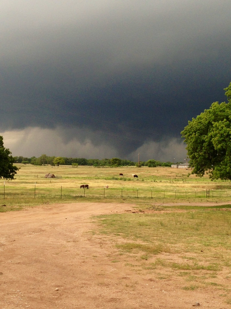 This funnel cloud was seen around 6:25 p.m. Wednesday off FM 2265 about a mile from Texas 101 between Chico and Alvord. Submitted photo by Delia Hernandez.