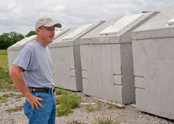BUILT TO PROTECT - Brett West, president of U.S. Storm Shelters, LLC, has seen his business boom since several powerful tornadoes struck North Texas and Oklahoma last month. Messenger photo by Jimmy Alford