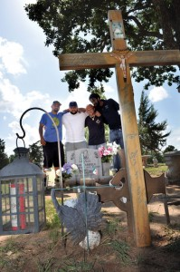 HONORING OMAR - From left, Dean Bible, Manuel Carrillo, Trevor Phillips and Jacob Mitchell gather at Oaklawn Cemetery to remember their brother and best friend Omar Carrillo. Messenger photo by Brandon Evans