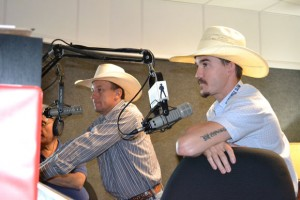 TALKING SMACK ON THE RADIO - PBR bull riders J.W. Hart, left, and Pistol Robinson were interviewed live on FM 95.9 The Ranch in Fort Worth Monday morning. Hart put up $40,000 to get more riders to this weekend's event in Decatur, and Robinson took him up on the challenge to ride Bushwhacker. Messenger photo by Bob Buckel