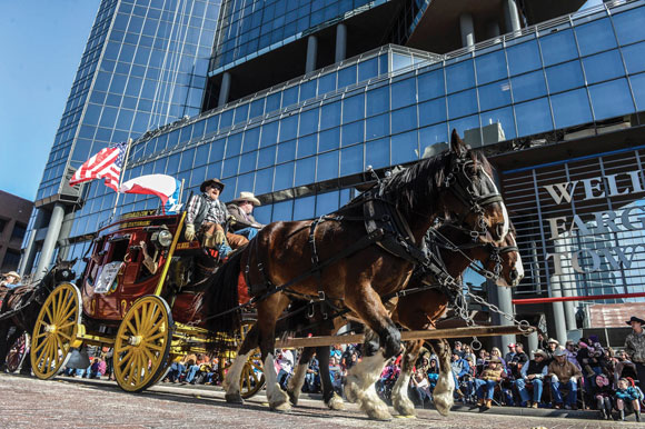 WAGONS HO! - The Wells Fargo stagecoach was one of more than 200 entries in Saturday's All Western Parade, the unoffficial kickoff to the Fort Worth Stock Show and Rodeo. Messenger photo by Joe Duty