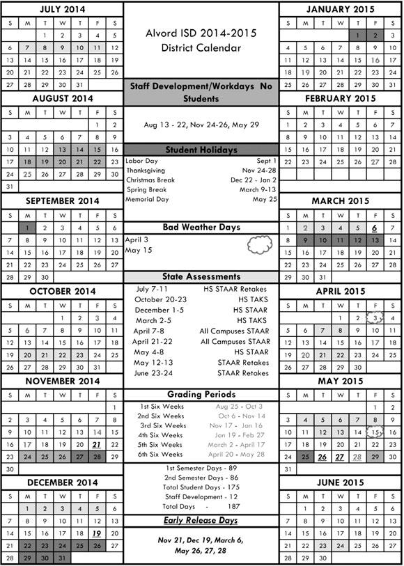 Alvord Calendar