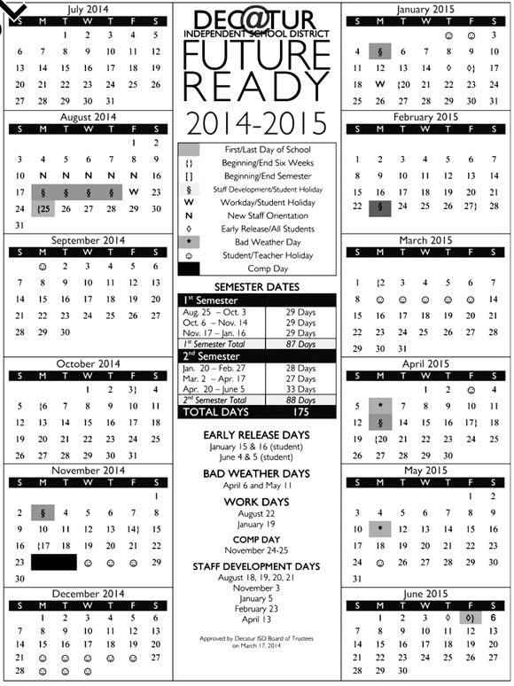 Decatur Calendar