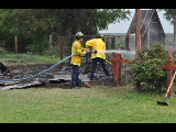 Decatur firefighters extinguish a well house fire around noon Wednesday in Decatur. Messenger photo by Jake Harris.