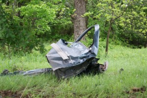 Anderson's pickup door, which was destroyed in the crash. Messenger photo by Jake Harris.
