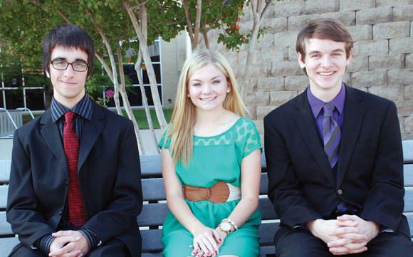 MERIT FINALISTS - Matthew Walker (left) of Newark is one of three Northwest High School seniors named a National Merit Finalist. Damon King of Fort Worth and Kassidy Knight of Haslet are also among the 15,000 vying for the title and coinciding scholarship.