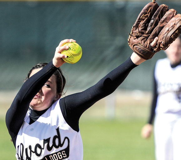 ANOTHER STRIKEOUT - Makena Mader was in complete control Tuesday striking out 15 batters in the Lady Bulldogs; 10-0 win over Paradise. Messenger photo by Joe Duty