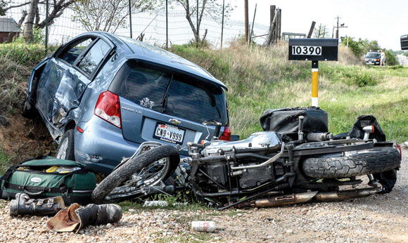 MONDAY AFTERNOON WRECK - Carmen Miller of Boyd was flown to JPS in Fort Worth for lacerations to his head and leg, which also sustained several breaks, after ramming the motorcycle he was driving into a passenger car attempting to turn left. His injuries were not believed to be life-threatening. Messenger photo by Joe Duty
