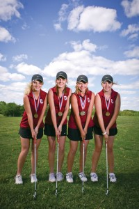 ON-TO-STATE - Tiffany Hawkins, Haley Shinn, Lexi Reed and Remi Swensson are heading to the Class 3A State Golf Tournament after their third-place finish at regionals. Messenger photo by Jimmy Alford