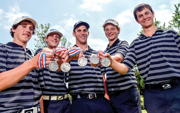 STATE BOUND - Dylan Rottner, Dylan Erwin, Eric Gage, Drew Jones and Jansen Alker show off their silver medals after finishing second at the Region II Golf Tournament Tuesday. The team advances to the state tournament May 2-3 in Austin. Messenger photo by Joe Duty