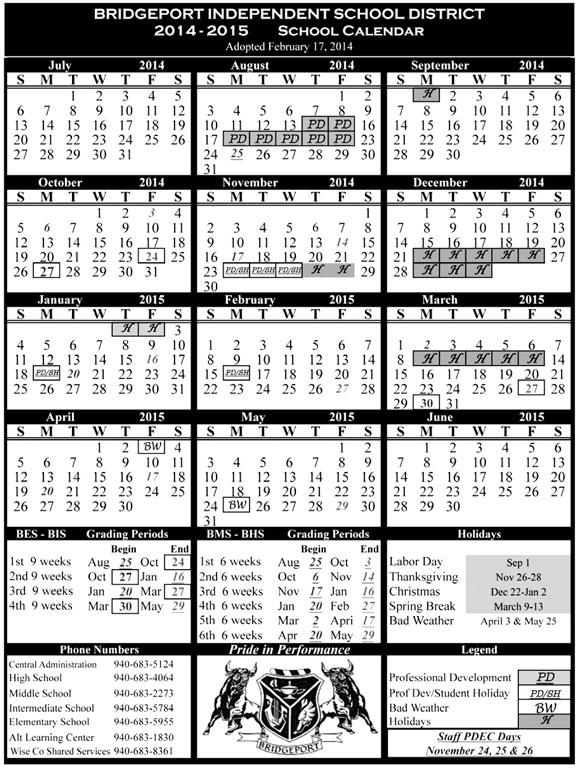 Bridgepoirt Calendar