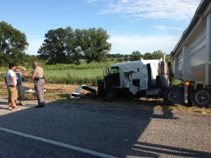 A tractor trailer collided with another truck on F.M. 1810 Monday night. Messenger photo by Joe Duty.